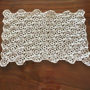 vintage, hand-crocheted doily, rectangle